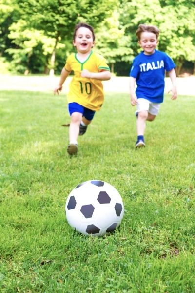 soccer practice for two 3-year-old boys