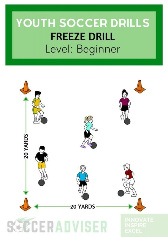 youth soccer drills: freeze drill