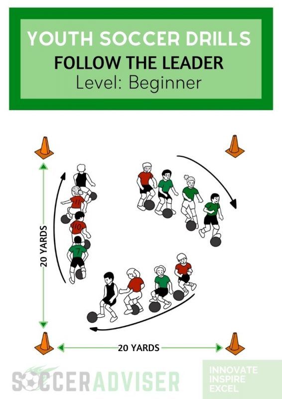 youth soccer drills: follow the leader